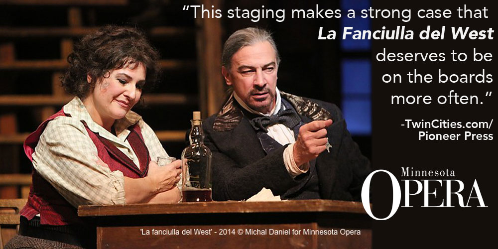 Claire Rutter as Minnie and Greer Grimsley as Jack Rance in the Minnesota Opera production of La fanciulla del West